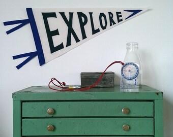 Explore Pennant Flag/Aventure Pennant/Vintage Style Pennant/Wool Felt Pennant Banner/Wallhanging/Room Decor/Adventure Theme Nursery