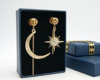 Crystal Moon&Star Burst Plugs Gauges/8g ,6g ,4g ,2g ,0g ,00g ,1/2, 9/16 , 5/8 ,11/16 ,3/4 ,1 inch Moon Gauges