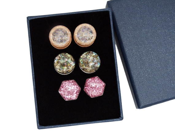 Handmade Set of 3 Gold Plugs Sizes 8g to 7//8 inch