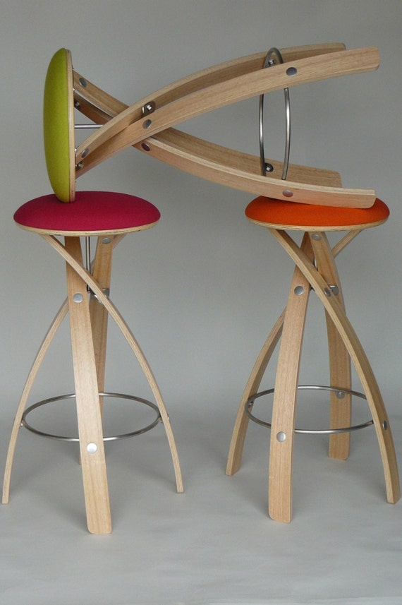 Awe Inspiring Counter Stool Awarded Design Made To Order In Tasmania Wood Leather Stainless Steel Latex Foam Free Flat Pack Global Shipping Theyellowbook Wood Chair Design Ideas Theyellowbookinfo