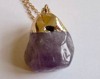 Amethyst Gemstone Natural Shape Pendant Free UK shipping Gift boxed + Handmade Gift bag CHA1