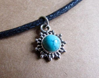Turquoise Gemstone Pendant Dainty Choker Handmade, Simple Jewellery Gift Bag, Free UK Delivery