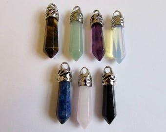 7 Crystal Point Healing Crystal Point  Pendants Amethyst Lapis Rose Quartz Aventurine Opalite  Unisex Free UK Shipping + Gift Bag CHM7
