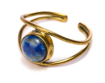 Lapis Lazuli Adjustable Gemstone Brass ring, Handmade, Boho Rings, Gift Boxed + Gift Bag , Free UK Delivery
