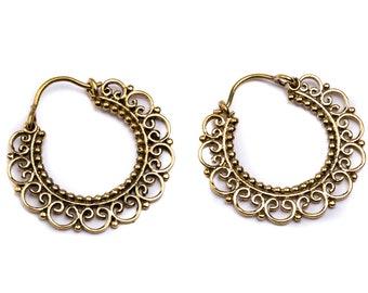 bd036bbfb Small Mandala Brass Hoop Earrings Nickel Free Tribal Earrings Free UK  Delivery Gift Boxed