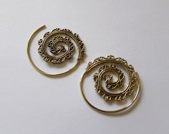 Spiral Brass Earrings swirls design, handmade, Tribal Earrings, Belly Dance Jewellery, Festival Jewelry, Free, Gift boxed, Free UK post BR3