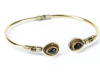 Boho Tribal Bangle Black Onyx Gemstone Bracelet Adjustable Gift Boxed + Giftbag + Free UK Delivery
