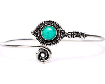 Boho Tribal Bangle Turquoise Gemstone Bracelet Adjustable Gift Boxed + Giftbag + Free UK Delivery WBB14