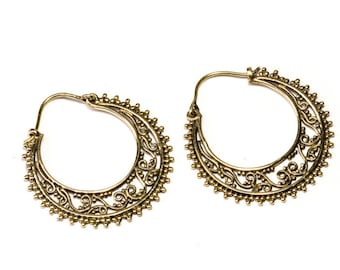 Brass Dots Hoop  Earrings Tribal Earrings Mandala Jewellery Free UK Delivery Gift Boxed BG8 * Also available in Gold Plated*