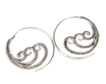 White Brass Tribal Waves Design Spiral Earrings Tribal Earrings Mandala Jewellery Free UK Delivery WB41 WBS1