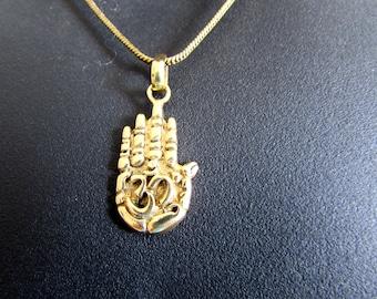 Om Ohm Aum Hamsa Hand Pendant Necklace Handmade Yogi Yoga Boho Jewelry Free UK delivery BP1