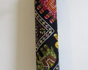 Yoga Mat Bag Pilates Mat Bag handmade Indian Green, Red & Yellow Elephants  free UK delivery (b59) Free gift