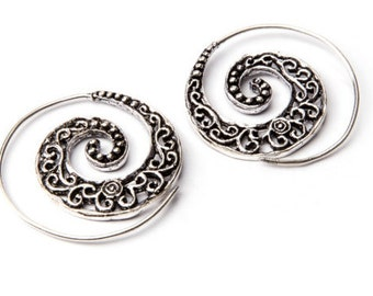 White Brass Small Dark Swirls Etched Spiral Earrings Tribal Earrings Mandala Jewellery Free UK Delivery WB1