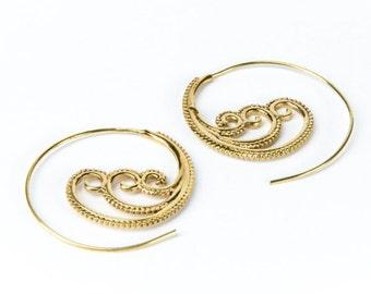 Spiral Brass 3 Waves design Earrings handmade, Tribal Earrings, Nickel Free, Indian Jewellery, Gift boxed,Free UK postage BR8