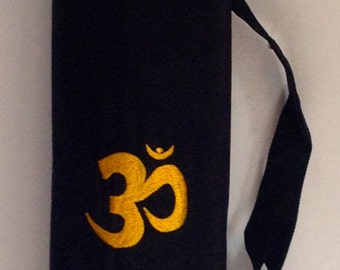 Yoga Mat Bag black Pilates Mat Bag Cotton Yellow Om Ohm Aum handmade Embroidered Adjustable carry strap  with or without pocket lightweight
