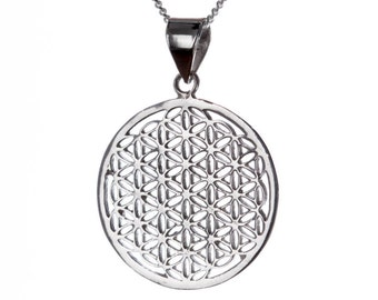 Flower of Life Sterling Silver Pendant Necklace Spiritual jewellery Yogi Jewellery Geometry Jewellery Handmade Free  delivery