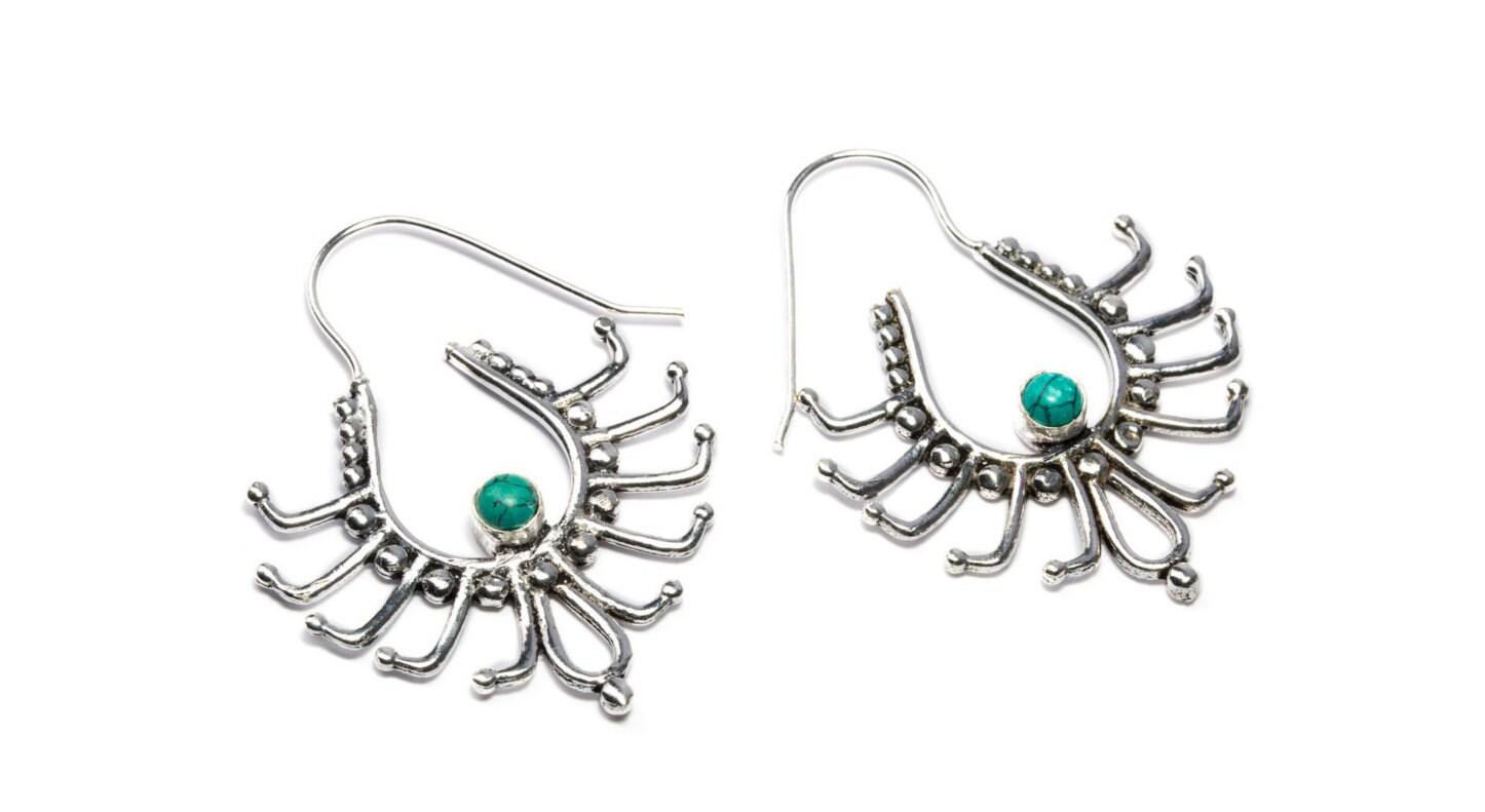 white brass turquoise gemstone hoop earrings tribal earrings