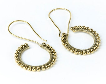 Tribal Dots Hooks Brass Earrings handmade, Tribal Earrings, Nickel Free, Indian Jewellery, Gift boxed, Free UK postage BG6