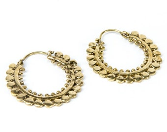 Brass Afghani Dots Hoop  Earrings Tribal Earrings Mandala Jewellery Free UK Delivery Gift Boxed BG11