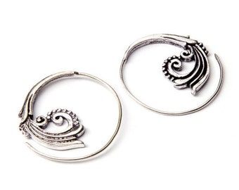 White Brass Small Floral Spiral Earrings Tribal Earrings Mandala Jewellery Free UK Delivery WB52