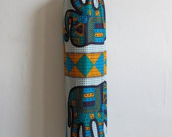 Yoga Mat Bag Pilates Mat Bag Cotton Block Print Multi Colour Elephant Design (b18) Bespoke Free UK Delivery Free Gift Choice