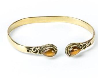 Boho Tribal Bangle Tigers Eye Gemstone Bracelet Adjustable Gift Boxed + Giftbag + Free UK Delivery