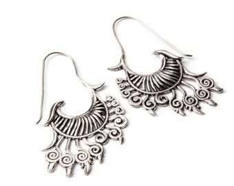 Big Tribal Wing Hook Earrings White Brass Earrings Tribal Jewelry Free UK Delivery Gift Boxed WB19