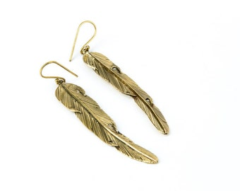 Long Feather Earrings handmade, Brass, Hanging Feather Jewellery, Gift boxed, Free UK post BG5