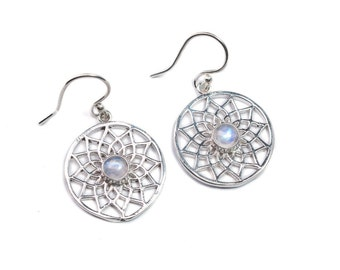 Circle Mandala White Brass Earrings handmade, Lotus Design Moonstone  Tribal Dangle Earrings, , Gift boxed, Free UK postage WB33