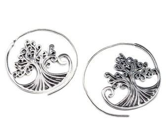 Tree Of Life Spiral White Brass Earrings handmade, Tribal Earrings, Boho Jewellery, Gift boxed, Free UK postage WB30