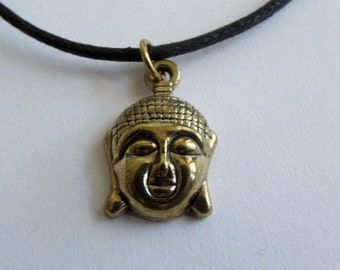 Buddha brass pendant On Wax Cord Yoga Jeweller Buddist Adjustable Unisex Free UK Shipping + Gift Bag