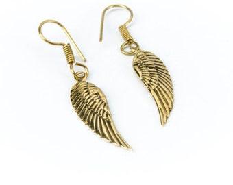 Angel Wing Brass hanging earrings handmade, Brass, Tribal Style, Delicate angel wings, Gift boxed, Free UK post BG5