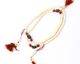 Mala Meditation Beads Yak Bone with Chupsi Counters 108 Mala beads Tribal Jewellery Prayer Beads Buddhist Free UK Delivery + Gift Bag