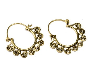 Small Mandala Brass  Hoop Earrings Tribal Earrings Boho Festival Jewellery Free UK Delivery Gift Boxed BR16