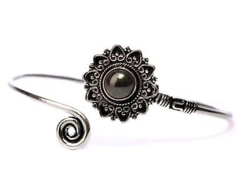 Boho Tribal Bangle Black Onyx Gemstone Bracelet Adjustable Gift Boxed + Giftbag + Free UK Delivery WBB29