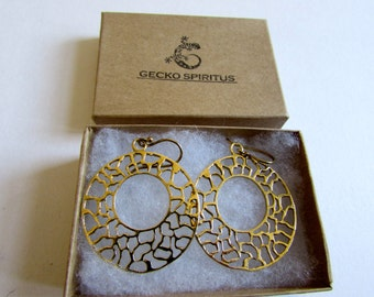 Circle Filigree hanging Earrings, Circle shape, Brass, Filigree Earrings , Hanging Earrings, Gift boxed, Free UK post BG10