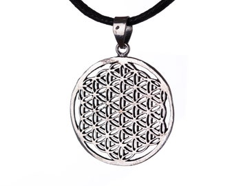 Flower of Life brass pendant On Wax Cord Yoga Jewellery Sacred Geometry Adjustable Unisex Free UK Shipping + Gift Bag WBP1
