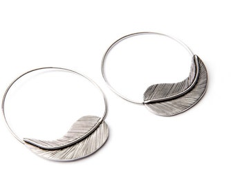 White Brass Big Feather design Spiral Earrings Tribal Earrings Mandala Jewellery Free UK Delivery WB49