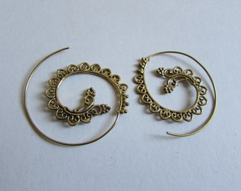 Spiral Brass Hearts and Dots Earrings handmade, Tribal Earrings, Nickel Free, Indian Jewellery, Gift boxed,Free UK postage BG9