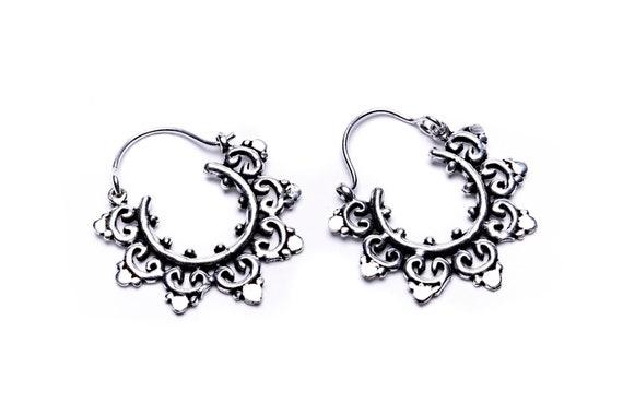 Small Mandala Brass  Hoop Earrings Nickel Free Tribal Earrings  Free UK Delivery Gift Boxed