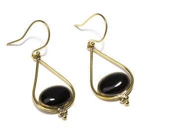 Black Onyx and Brass Dangle and Drop Earrings Gemstone Earrings Free UK Delivery Gift Boxed BHG1