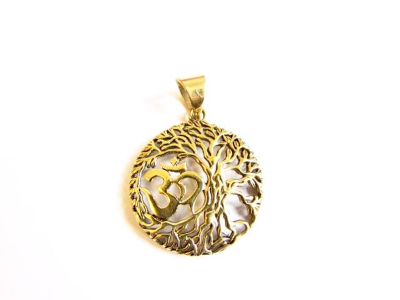 Circle Tree of Life Om Ohm Aum brass pendant On Wax Cord Or Chain Yoga Jewellery Adjustable Unisex Free UK Shipping Gift Bag
