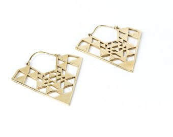 Sri Yantra Tribal Hoop Earrings Geometric Design Boho Ethnic Inspired Jewellery Free UK Delivery Gift Boxed BG1