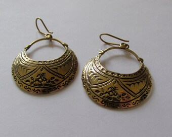 Om Circle Hanging Earrings with Tribal Patterns handmade, Brass, Boho Earrings , Tribal Earrings, Gift boxed,Free UK post