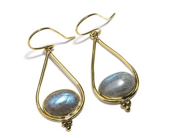 Labradorite and Brass Dangle and Drop Earrings Gemstone Earrings Free UK Delivery Gift Boxed BHG1