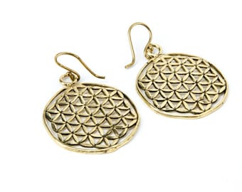 Brass Flower of Life Earrings, Sacred Geometry Earrings, handmade, nickel Free, Yoga Jewellery, Gift boxed,Free UK post BG2