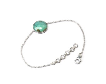 Dainty Turquoise Gemstone Sterling Silver Bracelet Minimalist Simple Gift Boxed + Giftbag + Free UK Delivery T1