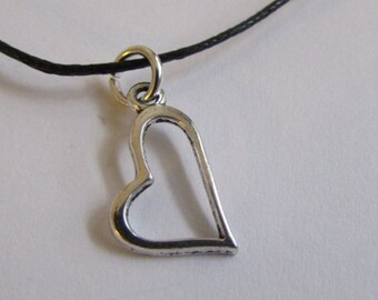 Heart Charm On Wax Cord Love  Heart Jewellery Adjustable Unisex Free UK Shipping + Gift Bag