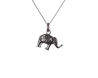 Sterling Silver 925 Elephant Pendant Necklace Spiritual Jewellery Yogi Jewellery Handmade Free UK delivery
