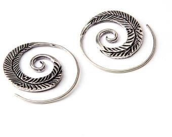 White Brass Small Feather Etched Spiral Earrings Tribal Earrings Mandala Jewellery Free UK Delivery WB15